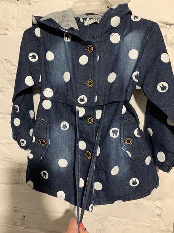 Джинсовая модная парка куртка легкая на девочку 5-6 лет