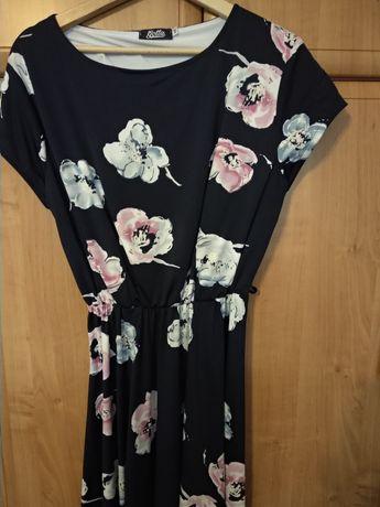 Sukienka w kwiaty granatowa 48 XXL