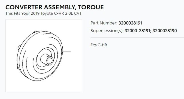 Гидротрансформатор, конвертер (бублик) Toyota 3200028191