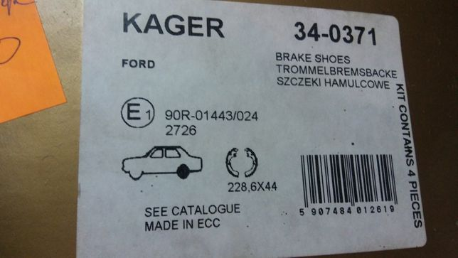 szczęki hamulcowe KAGER Ford