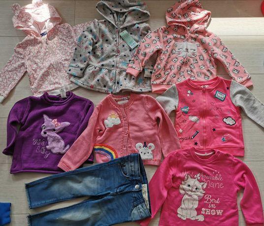 Ubranka dla dziewczynki 86 bluza sweterek spodnie