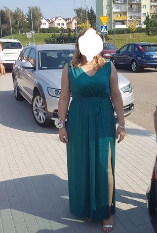 Świecąca suknia sukienka wieczorowa ślub bal długa maxi rozmiar 42