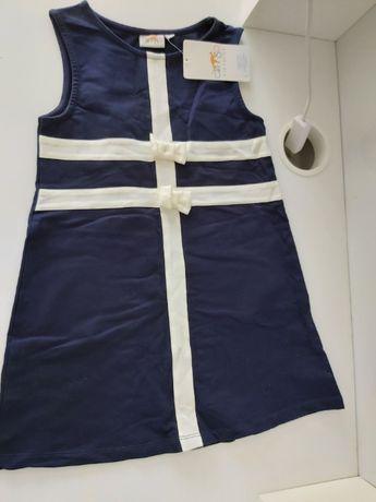 Sukienka Nowa, Granatowa z białymi kokardami rozpoczęcie roku