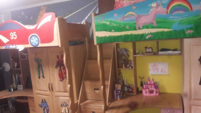 Кровать чердак с массива дуба для двух детей