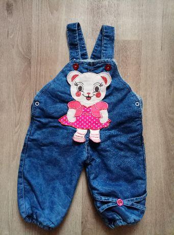Набор джинсовый комбинезон и реглан для девочки, Ecra Baby 6 мес.