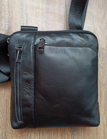мужская кожаная сумка барсетка слинг мессенджер