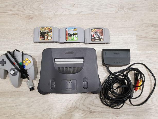 Nintendo 64 com 3 jogos