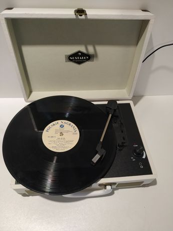 Nostalgy by Peggy Sue Gramofon retro LP USB AUX kremowy mosiężny