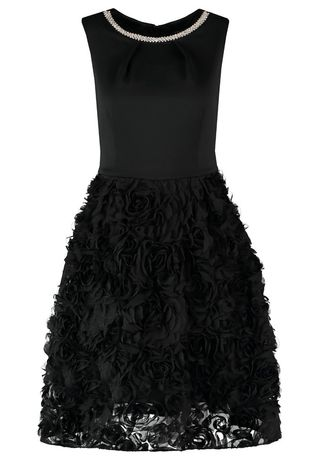 Elegancka sukienka czarna kwiaty 3D cyrkoniami studniówka L XL