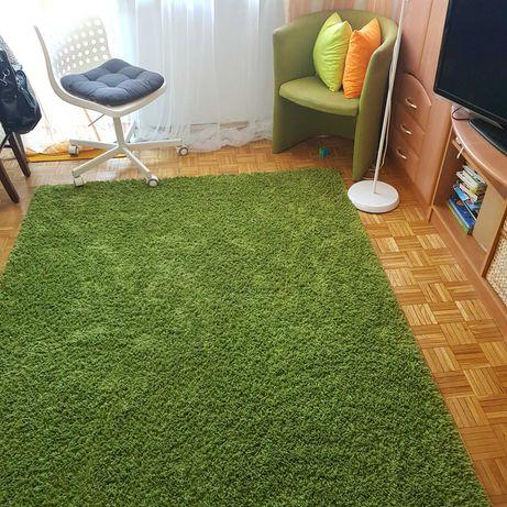 zielony dywan 160x220, długi włos, duży