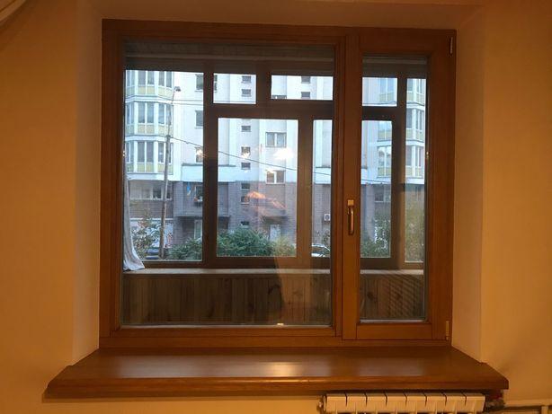 Шикарное дубовое окно с подоконником