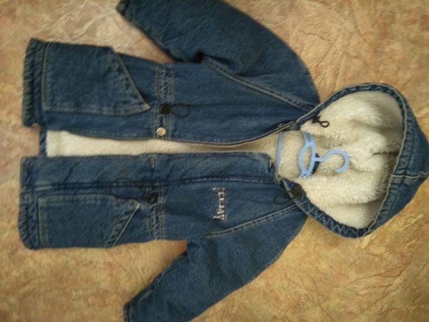 Зимняя джинсовая парка для девочки