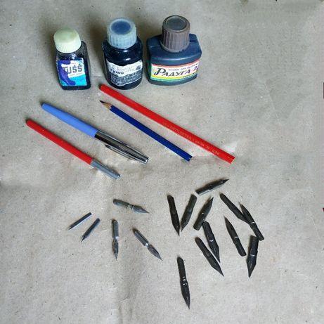 Школьное перо с ручкой