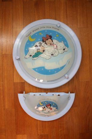 Candeeiros de parede criança Mickey e Minnie