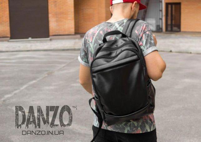 Рюкзак кожаный городской CODER спортивный мужской черный сумка