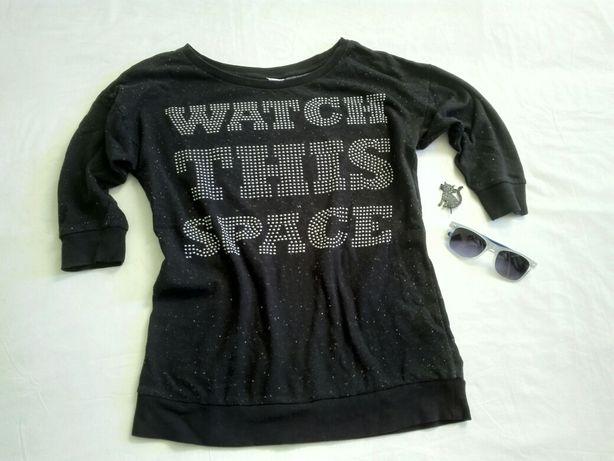 H&M czarna bluzka space, galaktyka, okulary przeciwsłoneczne