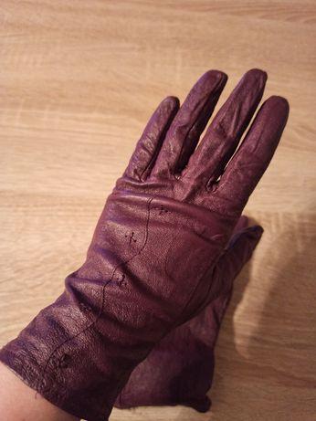 Rękawice skórzane fioletowe tanio stan bardzo dobry