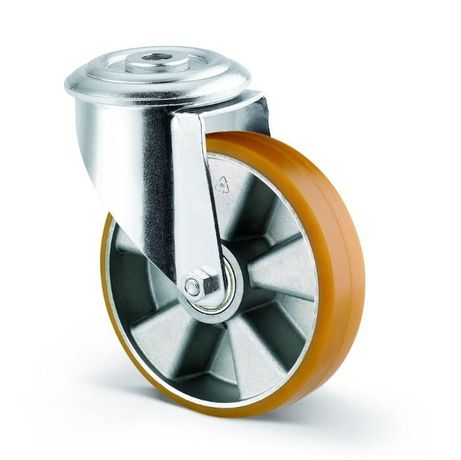 Roda giratória sem travão, com suporte - Ref. 080130