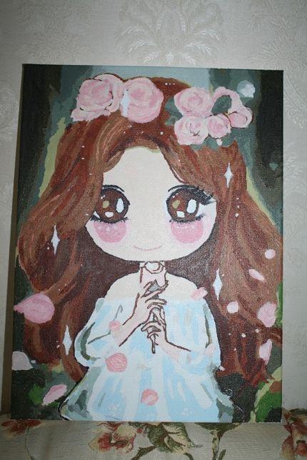 Картина девочка красками для детской, развивашки и не только