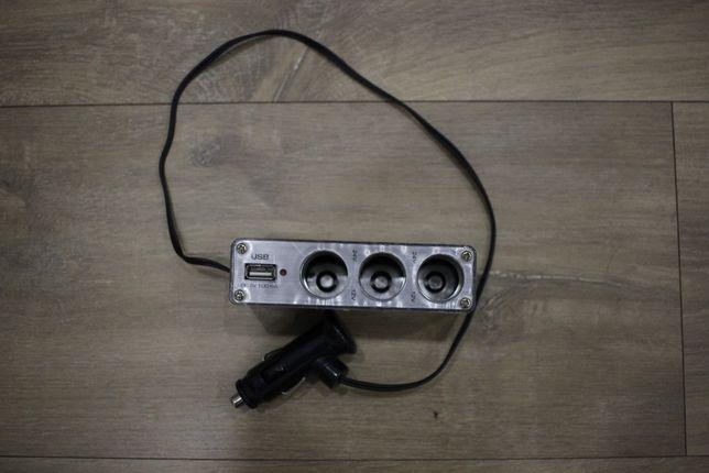 Продам разветвитель прикуривателя на 3 гнезда c USB