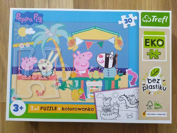 Eko puzzle baby 2w1 z kolorowanką Świnka Peppa 3+