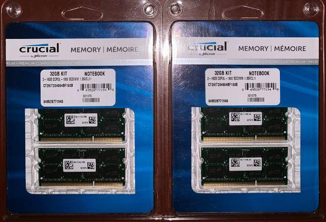 Память RAM 32GB (2x16GB) 64GB (4x16GB) PC3-12800 DDR3-1600 sodimm