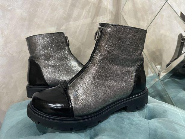 Шкіряні осінні чобітки для дівчинки 34 розмір