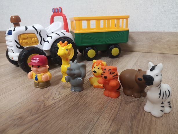 Трактор сафари Kiddieland на русском языке. Фигурки животных