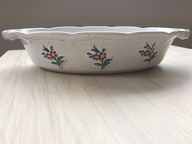 Talerz / taca biała z kwiatami