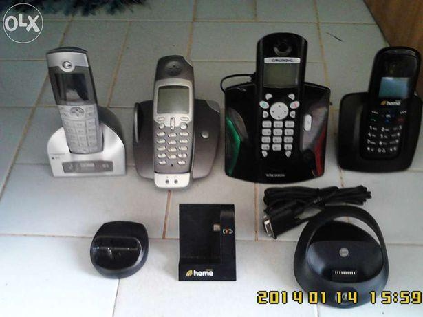 Telefones s/fios e com fios e  bases de telefones incompletos