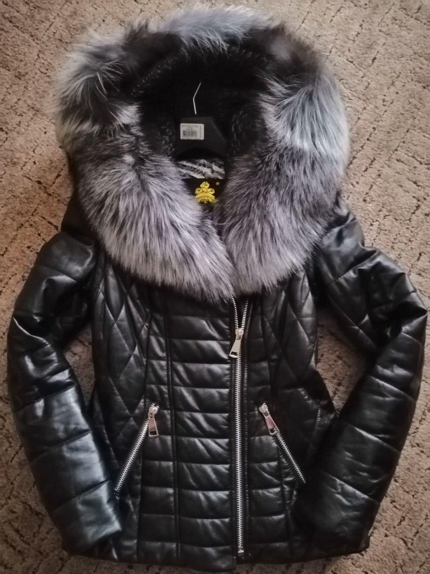 Новая кожаная куртка-жилетка (косуха) с натуральным мехом