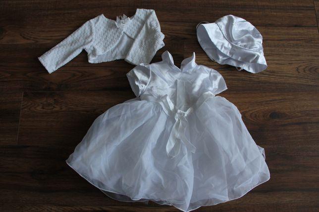 Sukienka na chrzciny z czapeczką i bolerkiem, rozm 68