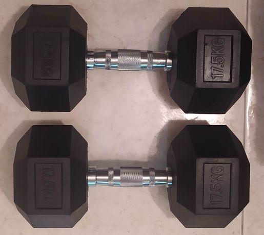 Halteres hexagonais de 17.5kg novos