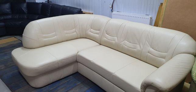 Narożnik skórzany sofa rogówka kanapa skóra funkcja spania jak nowy