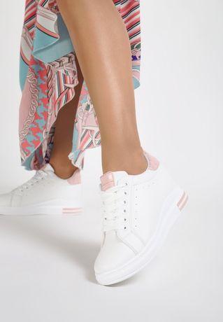 Бело-розовые сникерсы / ботинки/кроссовки
