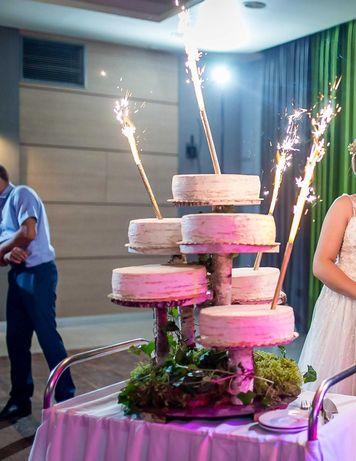 Stojak na tort weselny brzozowy 28cm - 6 pięter