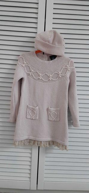 Dzianinowa sukienka 110-116 cm