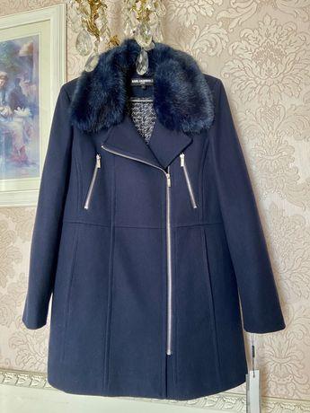 Женское теплое пальто шерсть karl lagerfeld ; l; новое с бирками