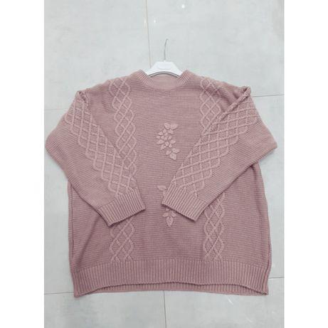 Długi sweter damski plus size pudrowy róż sweterek blezer  46 48 xl xx