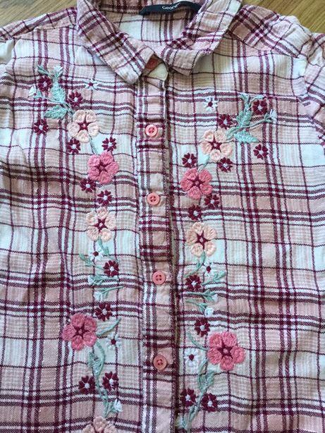 Рубашка блузка в клетку  вышивка спереди George, 10-11 л