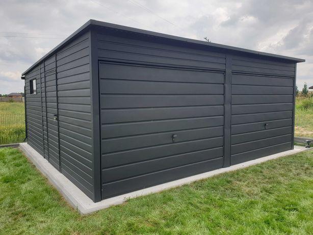 Garaż blaszany antracyt czarny mat profil nowoczesny złoty dąb orzech
