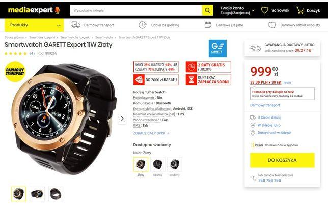 Zegarek Smartwatch Garett Expert 11W Android- okazja