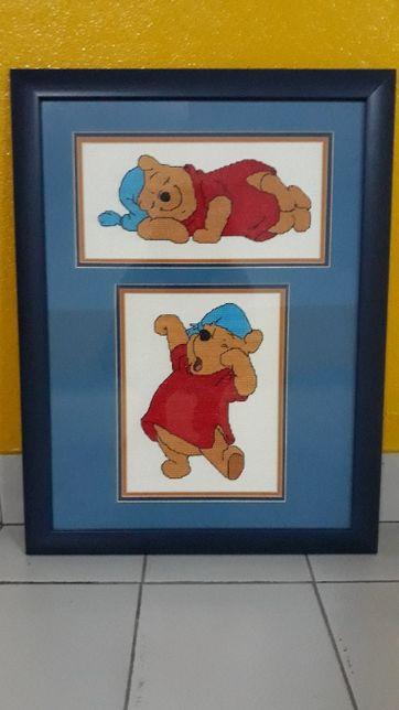 Quadro em ponto cruz com o Winnie the Pood