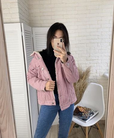 Куртка пудровая шерпа утеплённая М