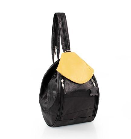 Plecak skórzany w czarno-żółty