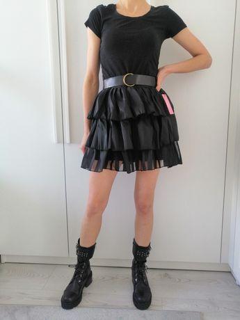 Czarna spódniczka mini z falbankami Hollywood Dream. R. uniwersal
