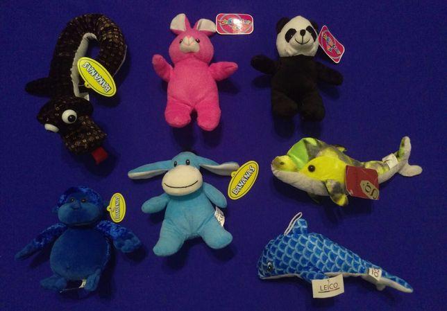 Новые мягкие игрушки Змея, Панда, Мишка, Обезьяна, Ослик, Дельфины