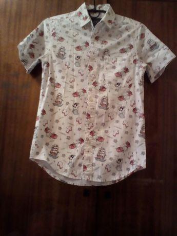 Белая рубашка с коротким рукавом, короткая рубашка, рубашка с рисунком