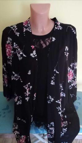 Kimono narzutka w kwiaty frędzle nowe XL