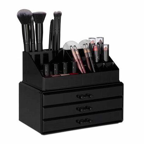 przybornik niezbędnik na kosmetyki na biurko biało czarny plastik Ikea